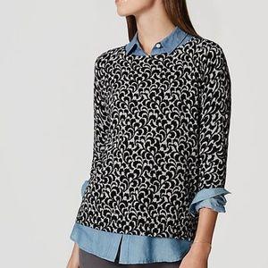 LOFT Ivy Button Back Sweater Cotton Soft S S0106X